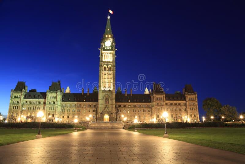 Het Parlement van Canada bij schemer, Ottawa royalty-vrije stock fotografie