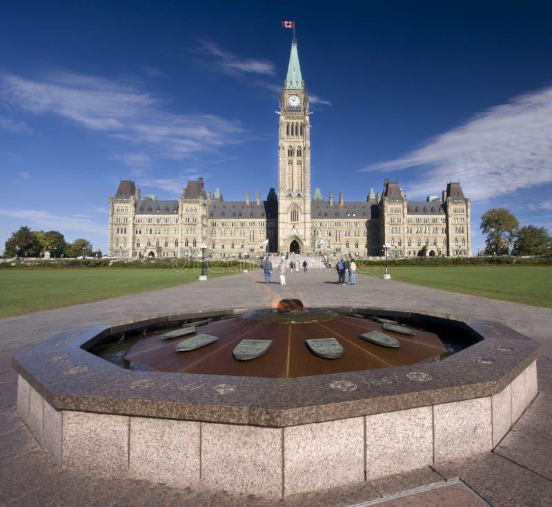 Het Parlement van Canada met het monument van de heldenvlam in de voorgrond royalty-vrije stock fotografie