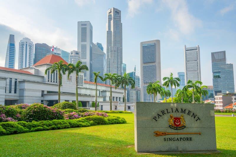 Het Parlement van Singapore en stadsslyline royalty-vrije stock afbeelding