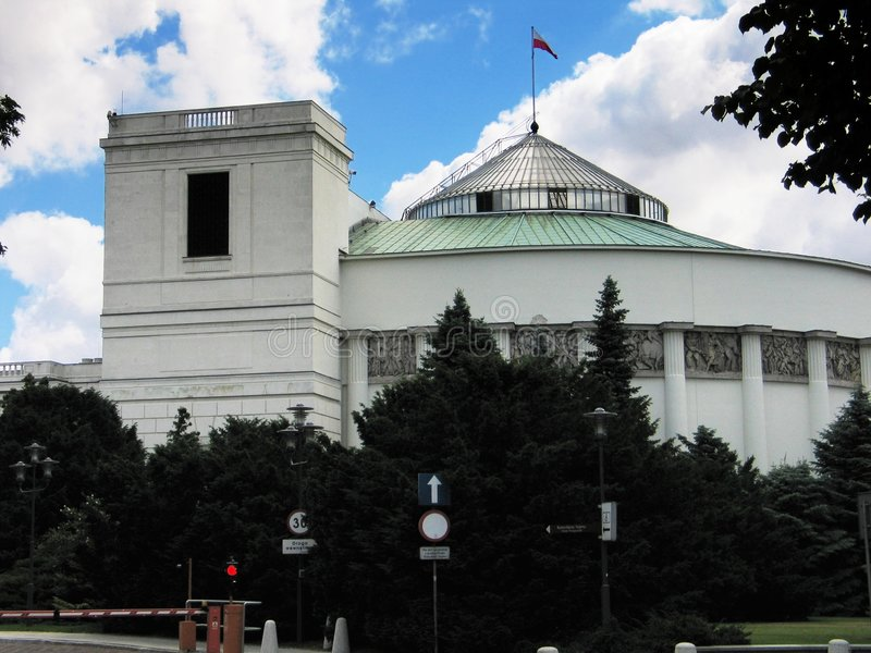 Het Parlementsgebouw in Warshau, Polen stock afbeelding