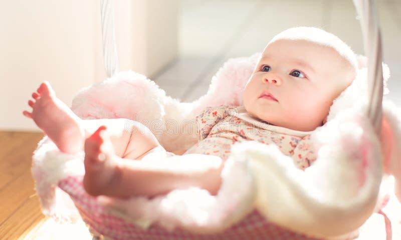 Het pasgeboren meisje van de Baby in een mand stock foto's