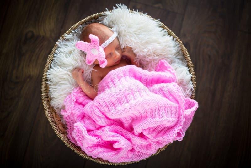 Het pasgeboren portret van het babymeisje stock fotografie