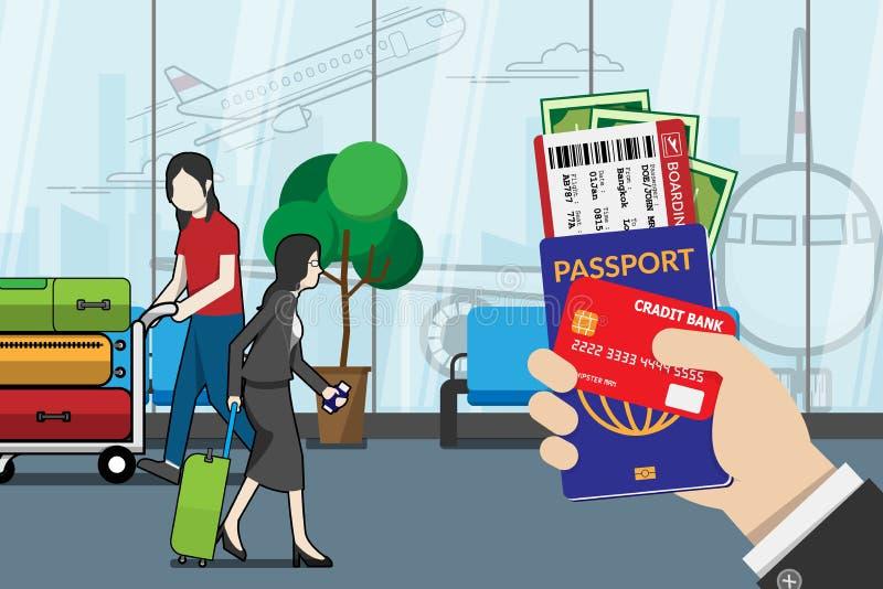 Het paspoort van de bedrijfsmensenholding, de instapkaart, het kleingeld en de creditcard, treffen voor reis met bagage en luchth royalty-vrije illustratie