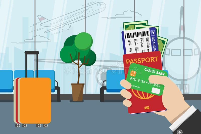Het paspoort van de bedrijfsmensenholding, de instapkaart, het kleingeld en de creditcard, treffen voor reis met bagage en luchth vector illustratie
