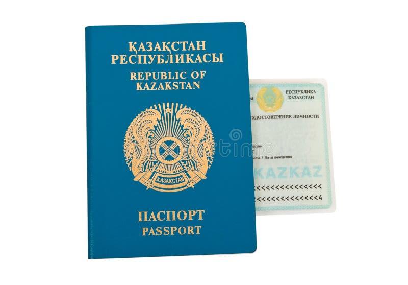 Het paspoort van Kazachstan en identiteitskaart stock foto's