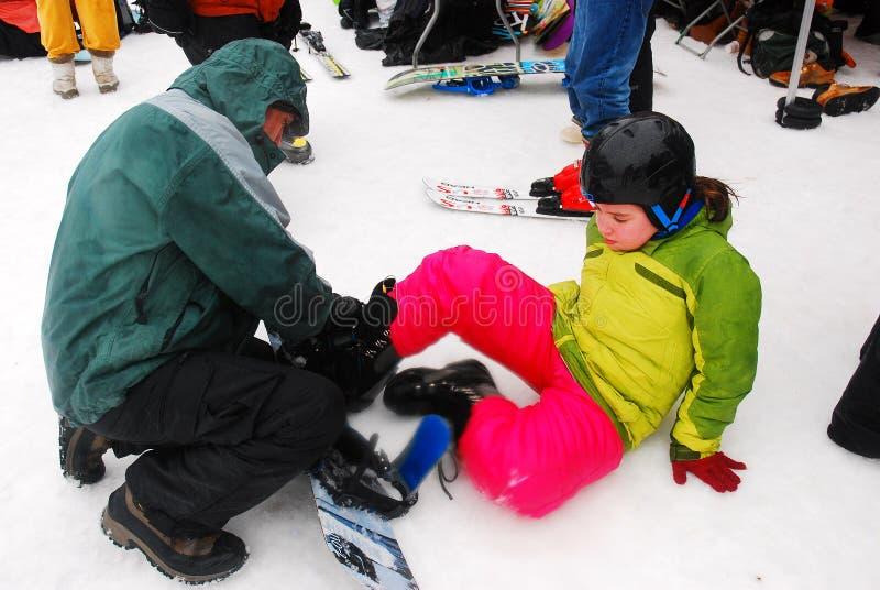 Het passen voor Snowboard stock fotografie