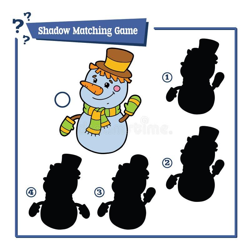 Het passende spel van de sneeuwmanschaduw royalty-vrije illustratie