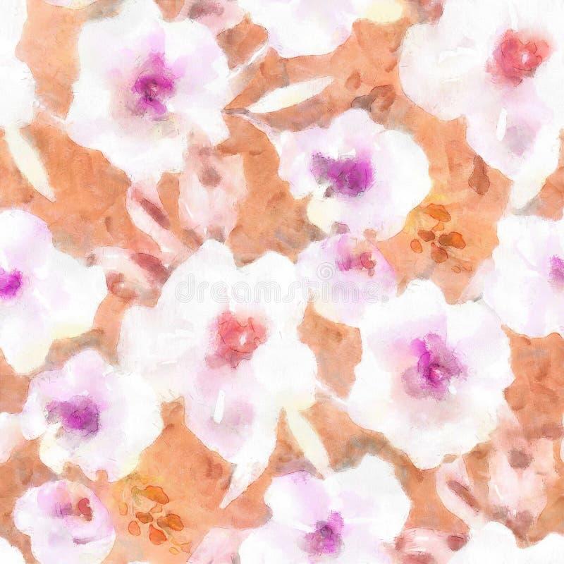 Het Patroon die van de waterverfbloem Bloemenpatroonpurple en Sinaasappel herhalen stock illustratie