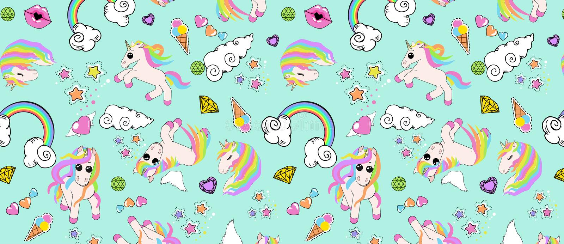 Het patroon met eenhoorns, regenboog, wolken, hart met vleugels, lippen, speelt mee stock illustratie