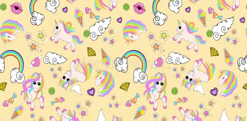 Het patroon met eenhoorns, regenboog, wolken, hart met vleugels, lippen, speelt mee royalty-vrije illustratie