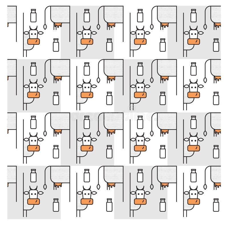 Het patroon met koeien en flessen de melk royalty-vrije illustratie