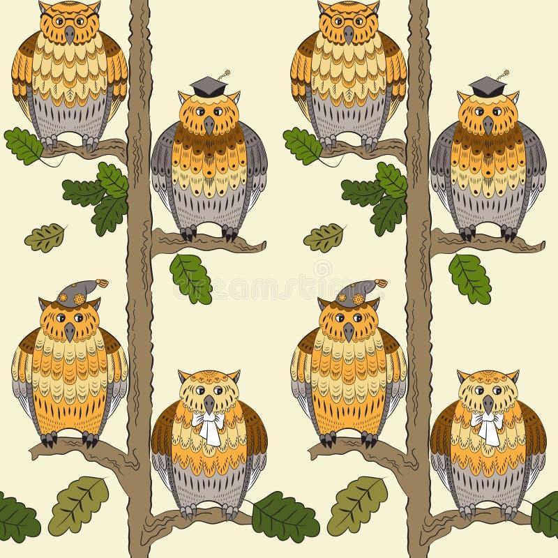 Het patroon met uilen, eiken-bomen, doorbladert en boegen royalty-vrije illustratie