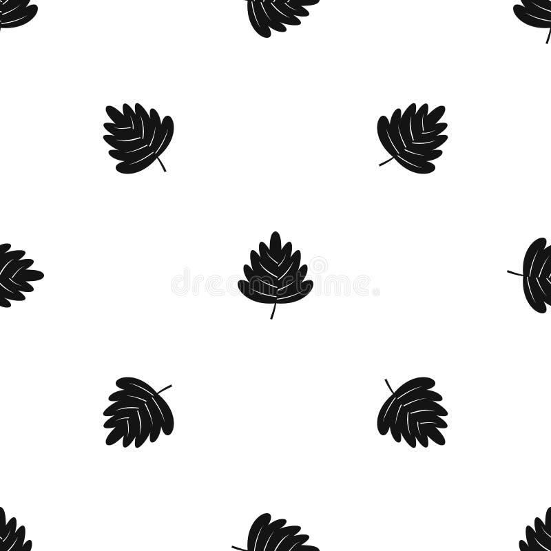 Het patroon naadloze zwarte van het haagdoornblad royalty-vrije illustratie
