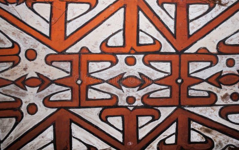 Het patroon op het schild van een stam van strijdersasmat royalty-vrije stock foto