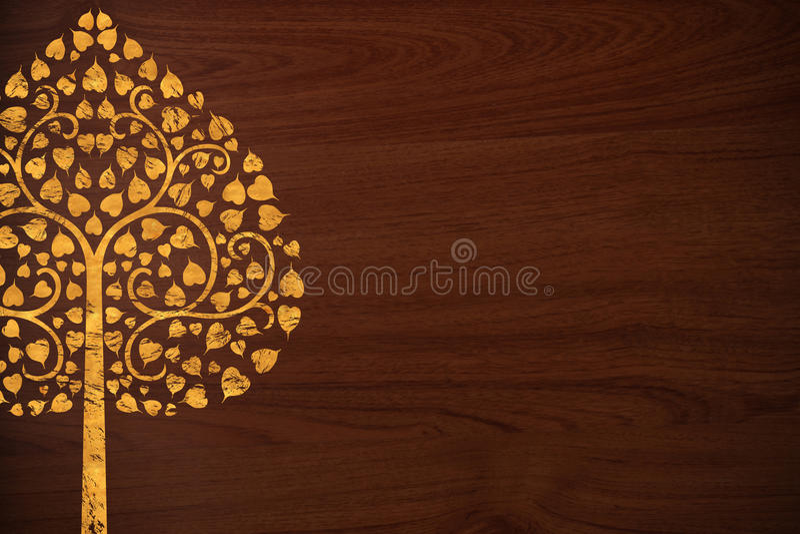 Het patroon Thai snijdt boomgoud op houten textuur stock fotografie