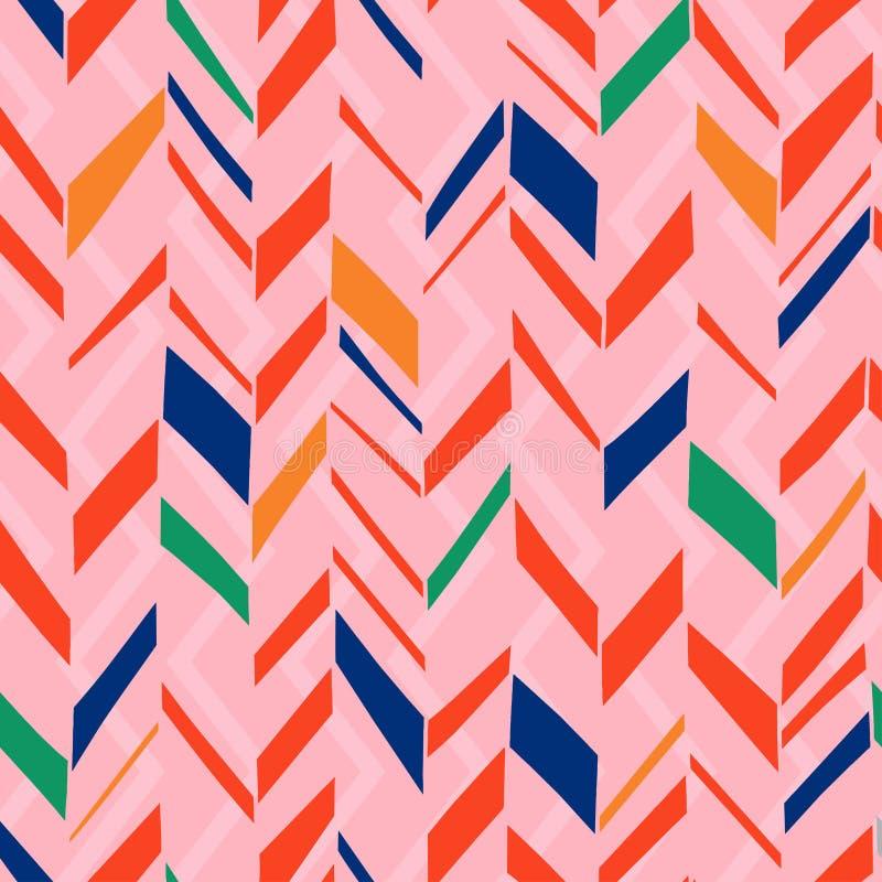 Het patroon van achtergrond chevronpastelkleuren Skandinavische naadloze vectorillustratie in moderne geometrische tekening royalty-vrije illustratie