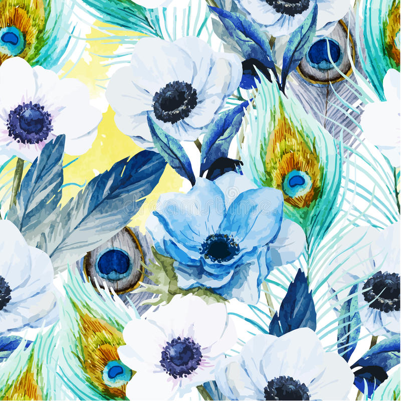 Het patroon van anemonenbloemen royalty-vrije illustratie