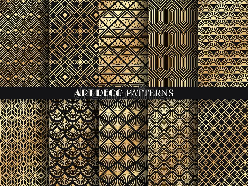 Het patroon van het art deco Gouden minimalismlijnen, uitstekende geometrische kunsten en overladen naadloze de patronen vectorre royalty-vrije illustratie