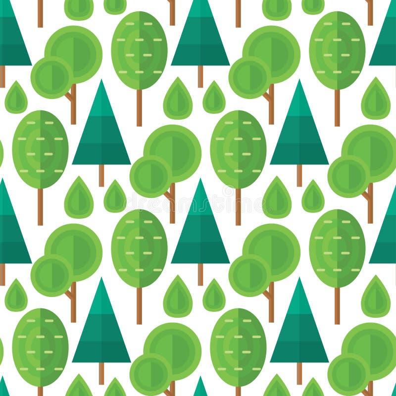 Het patroon van de van de achtergrond boom openluchtreis natuurlijke naadloze de ceder en de installatiebladvector groene pijnboo stock illustratie