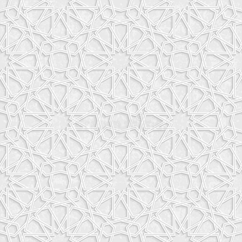 Het Patroon van de Arabesquester met Grunge Licht Grey Background, Vector royalty-vrije illustratie