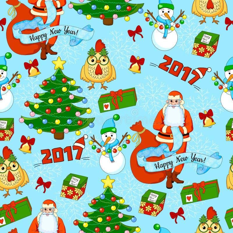 Het patroon van de beeldverhaalvakantie met Santa Claus, Kerstboom, giften, haan, sneeuwman, klokken, bogen en sneeuwvlokken stock illustratie