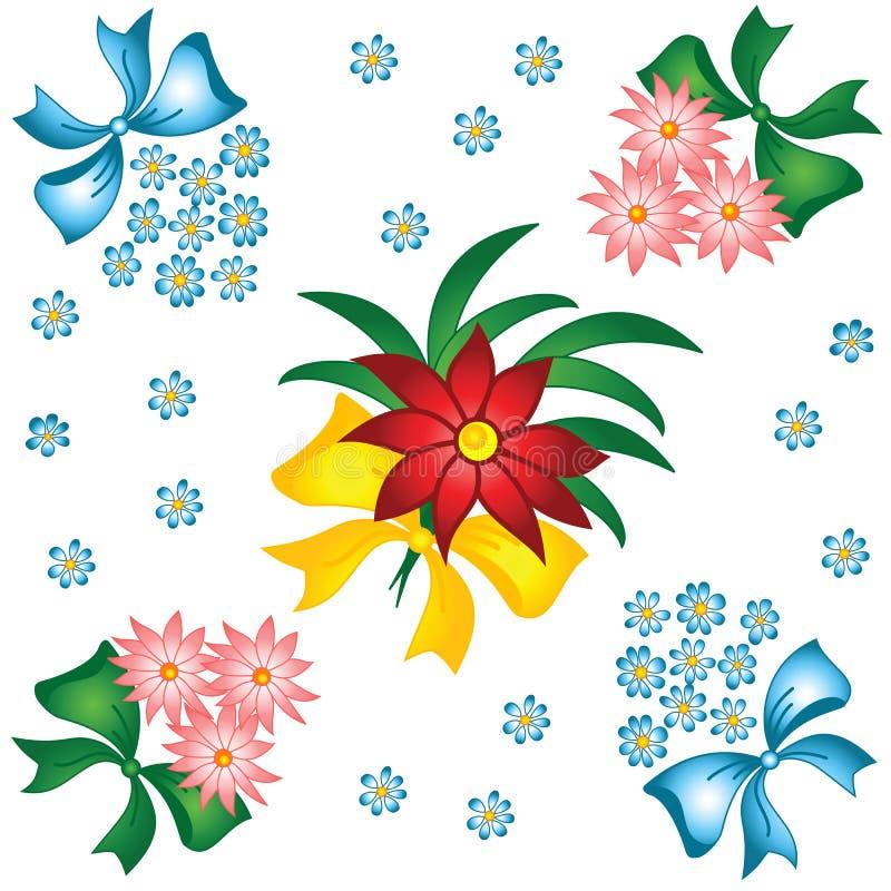 Het patroon van de bloem. Kleine boeketten met bogen. stock illustratie