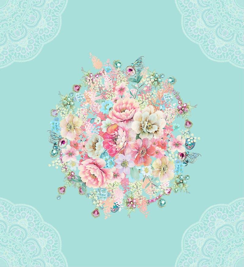 het patroon van de bloemillustratie op eenvoudige achtergrond royalty-vrije illustratie