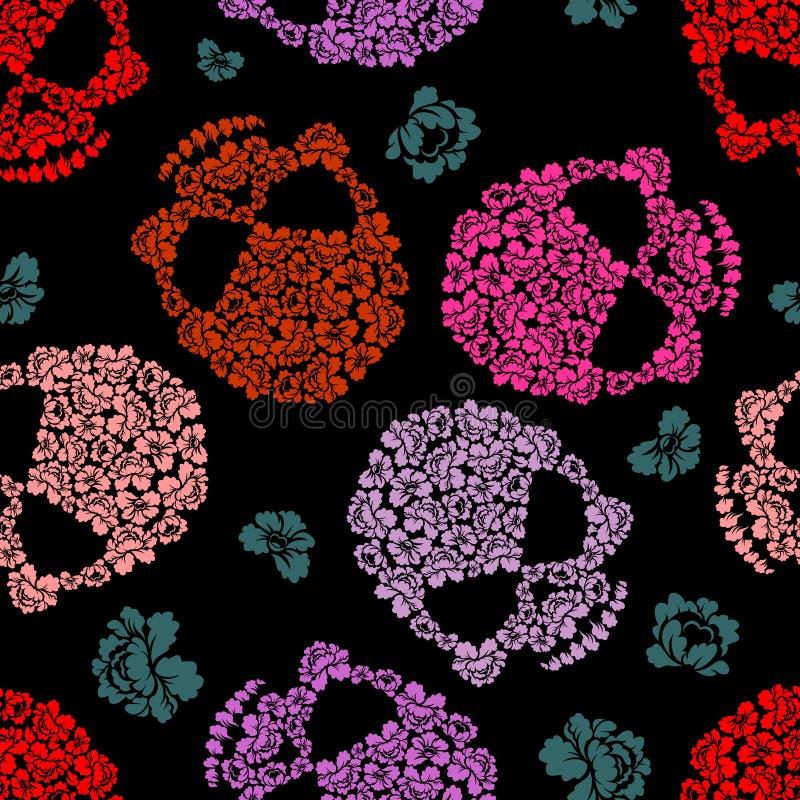 Het Patroon van de bloemschedel Enge en leuke Vectorachtergrond vector illustratie