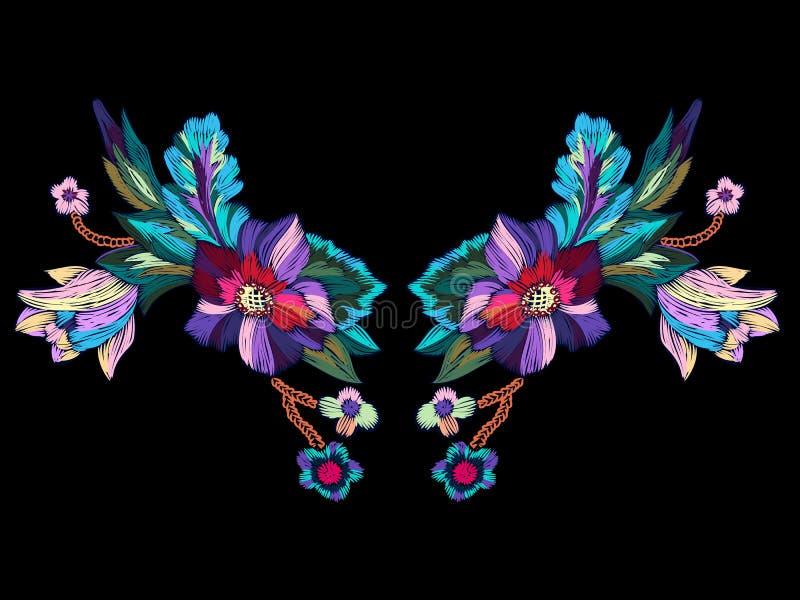 Het patroon van de borduurwerkhalslijn met heldere bloemen royalty-vrije illustratie