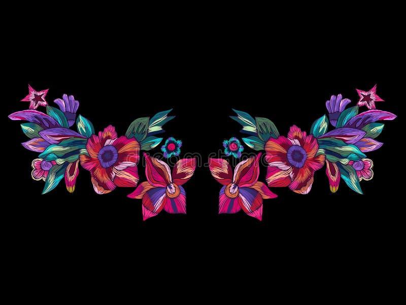 Het patroon van de borduurwerkhalslijn met moderne heldere bloemen stock illustratie