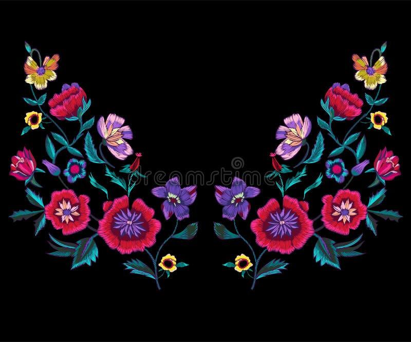 Het patroon van de borduurwerkhalslijn met papavers en weidebloemen stock illustratie