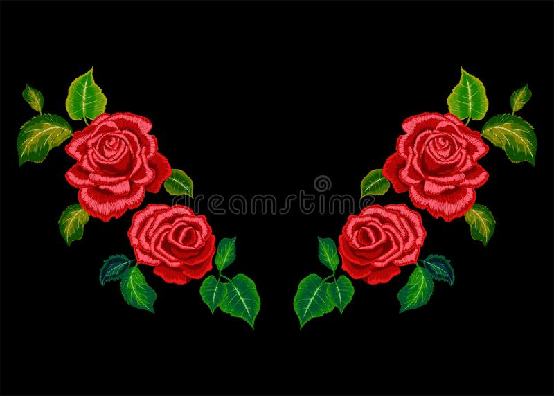 Het patroon van de borduurwerkhalslijn met rode rozen vector illustratie