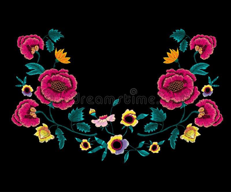 Het patroon van de borduurwerkhalslijn met rozen en pioenen royalty-vrije illustratie