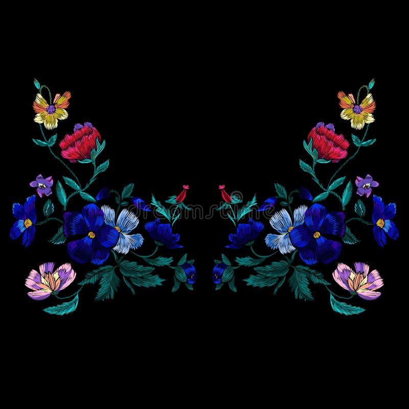 Het patroon van de borduurwerkhalslijn met violette bloemen De vector borduurde bloemenontwerp voor stof vector illustratie