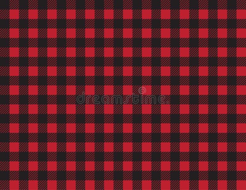 Het patroon van de buffelsplaid rode en zwarte vierkanten naadloze achtergrond robijnrood de plaid naadloos patroon van houthakke stock illustratie