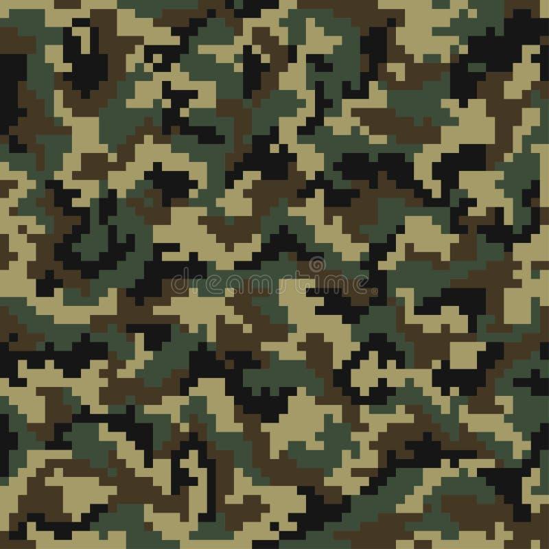 Het patroon van de camouflage Digitaal camouflage naadloos patroon Pixelcamo in houten stijl stock illustratie
