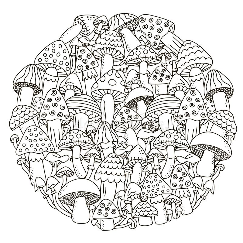Het patroon van de cirkelvorm met fantasiepaddestoelen voor het kleuren van boek royalty-vrije illustratie