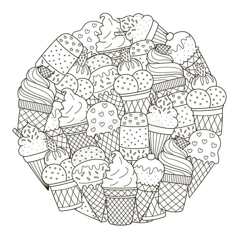 Het patroon van de cirkelvorm met leuk roomijs voor het kleuren van boek vector illustratie