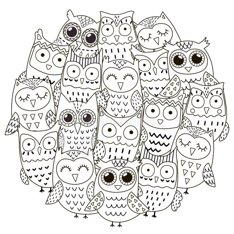 Het patroon van de cirkelvorm met leuke uilen voor het kleuren van boek vector illustratie