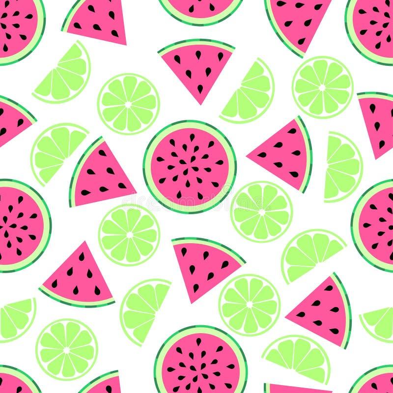 Het patroon van de citroenwatermeloen op wit vector illustratie