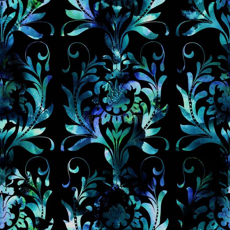 Het patroon van de damastwaterverf stock foto