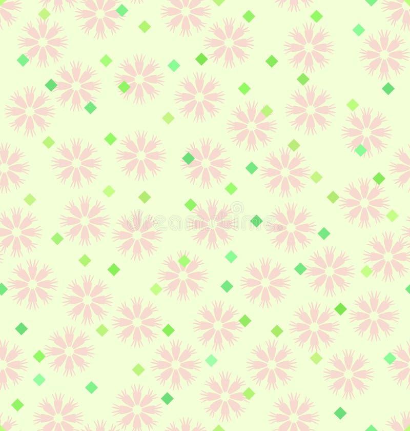 Het patroon van de de lentebloem met diamanten Naadloze vectorachtergrond royalty-vrije illustratie