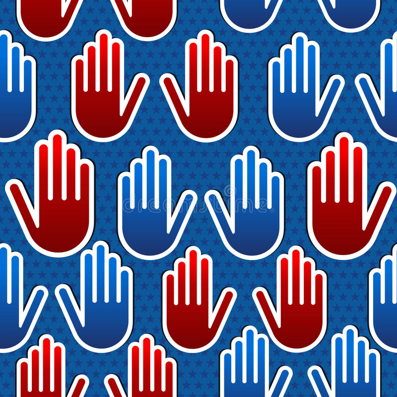 Het patroon van de de verkiezingenhand van de V.S. stock illustratie