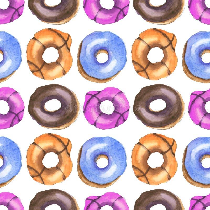 Het patroon van de Donutswaterverf vector illustratie