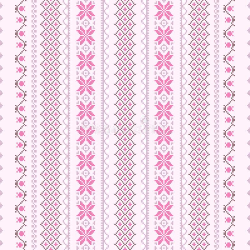 Het patroon van de dwars-steek in roze stock illustratie