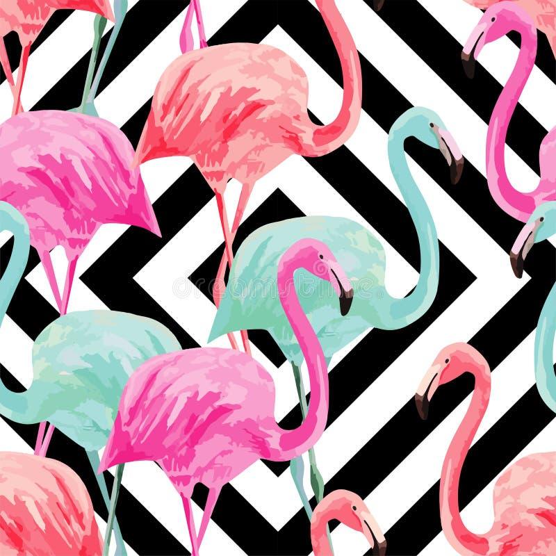 Het patroon van de flamingowaterverf, geometrische achtergrond