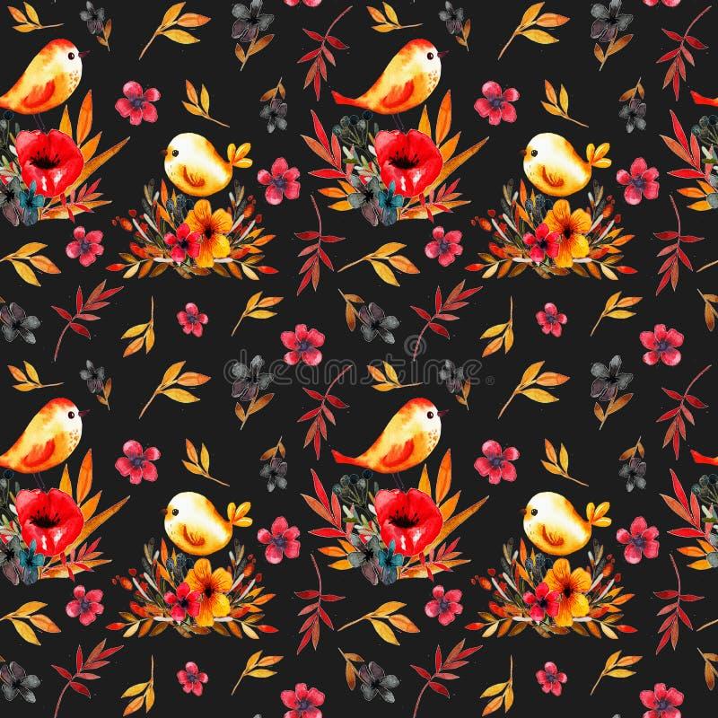 Het patroon van de gebiedsbloem met vogels stock illustratie