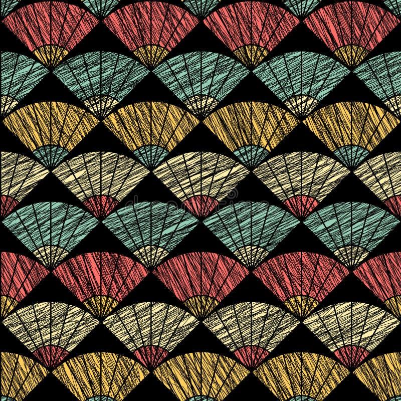 Het patroon van de Grungeventilator Gebaseerd op Traditioneel Japans Borduurwerk Abstract Naadloos Patroon vector illustratie