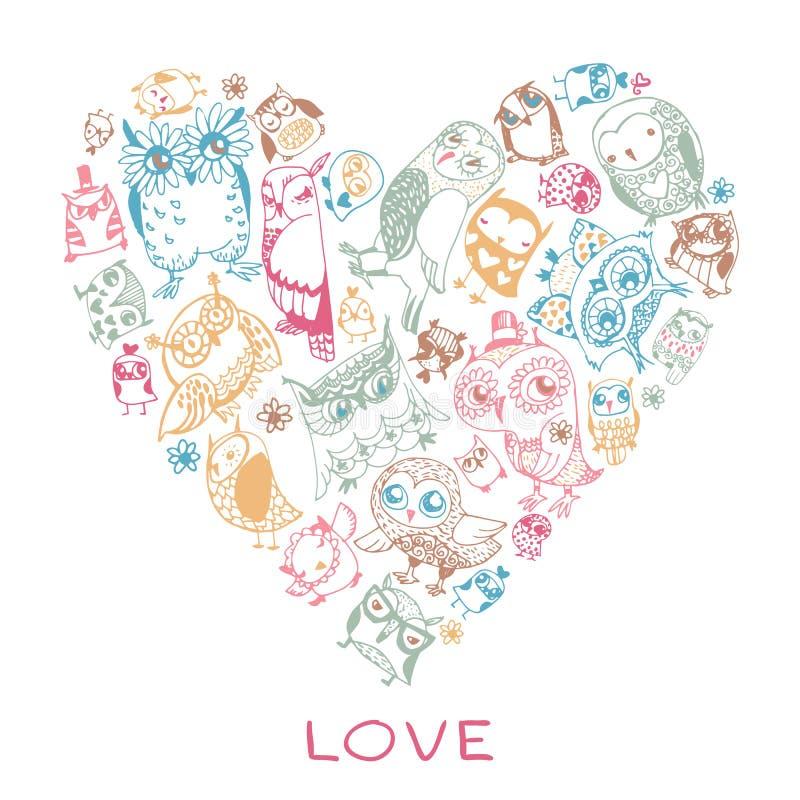 Het patroon van de hartliefde met Uilen. stock illustratie