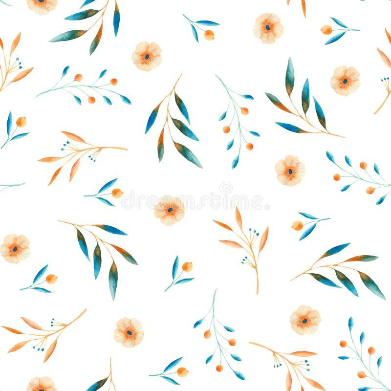 Het patroon van de de herfstwaterverf met blauwe en oranje bladeren, paddestoelen, bessen vector illustratie
